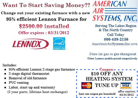Lennox Furance Promotion from AmericanAirSystemsInc.com, call us at 1-800-439-2136 for an appointment